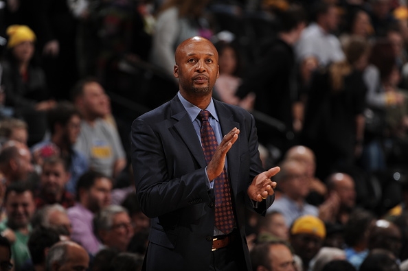 Head Coach Brian Shaw of the Denver Nuggets looks on during the game against the Detroit Pistons at the Pepsi Center on Oct. 29, 2014. (Photo by Garrett Ellwood/NBAE via Getty Images)