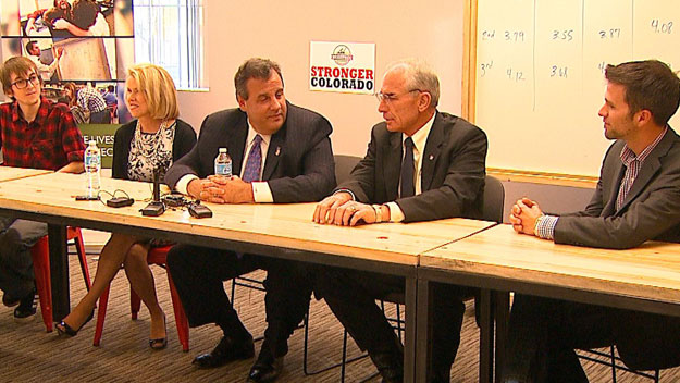 New Jersey Gov. Chris Christie with Bob Beauprez on Monday (credit: CBS)
