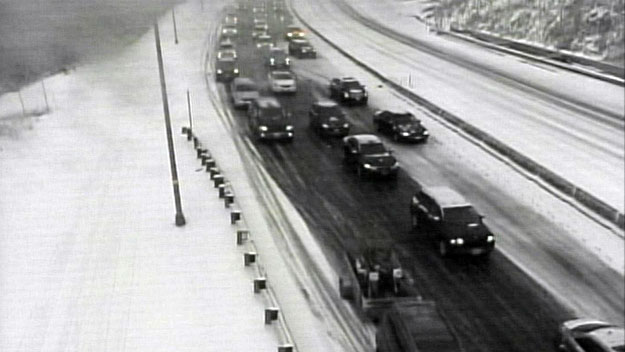 Traffic at the Eisenhower Tunnel Sunday morning (credit: CDOT)