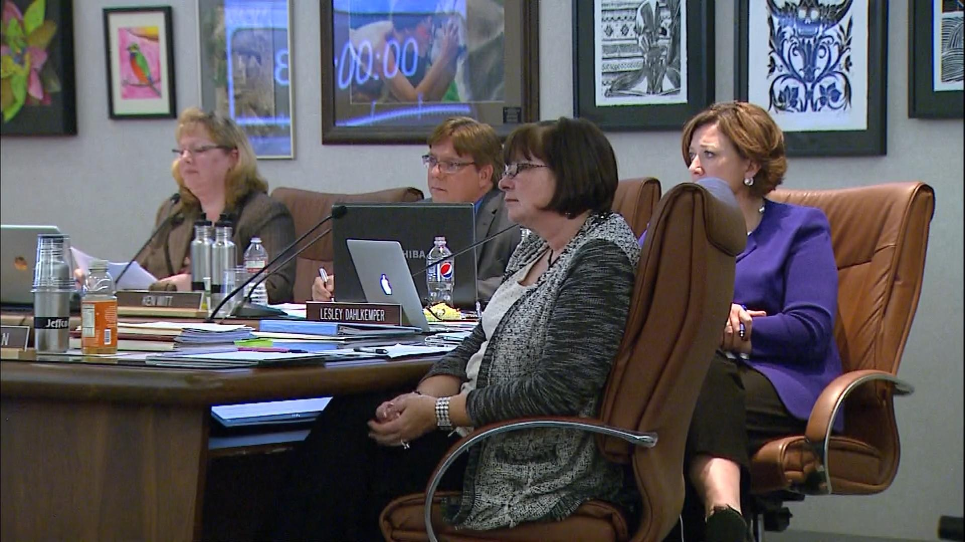 Members of the Jefferson County school board listen to the audience at its meeting Thursday. (credit: CBS)