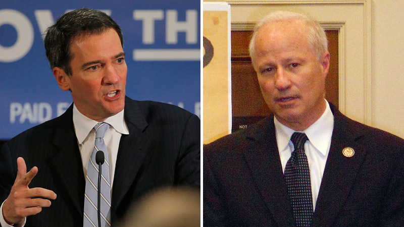 Andrew Romanoff, left, and Mike Coffman (Photos by Doug Pensinger/Getty Images and AFP)