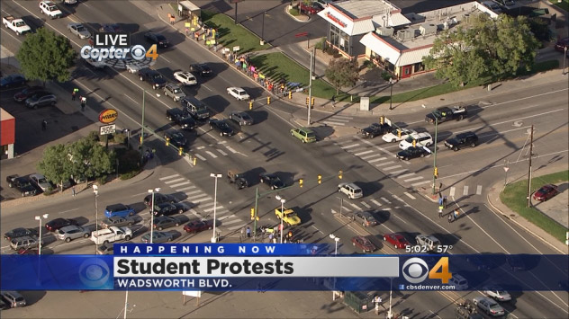 A shot of the protests from Copter4 on Friday (credit: CBS)