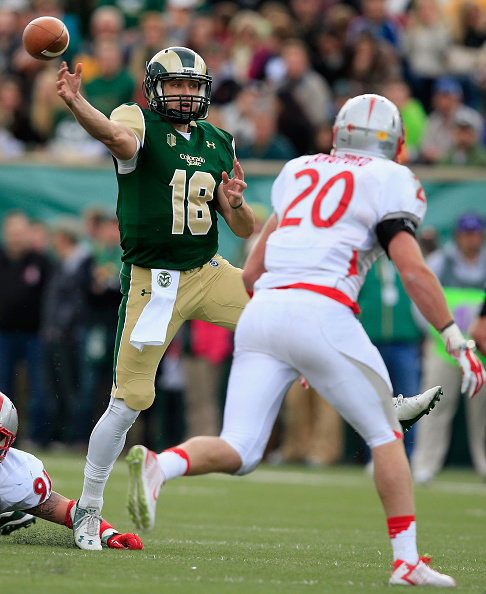 Quarterback Garrett Grayson #18 of the Colorado State Rams delivers a pass against linebacker Ryan Langford #20 of the New Mexico Lobos on November 22, 2014 in Fort Collins, Colorado. Colorado State defeated New Mexico 58-20.  (Photo by Doug Pensinger/Getty Images)