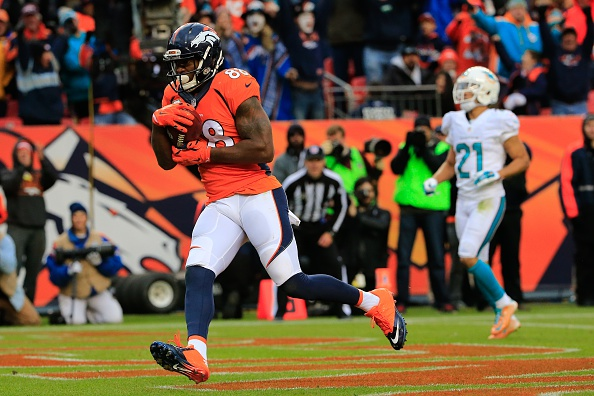 Wide receiver Demaryius Thomas #88 of the Denver Broncos has a second quarter during a game against the Miami Dolphins at Sports Authority Field at Mile High on November 23, 2014 in Denver, Colorado.  (Photo by Doug Pensinger/Getty Images)