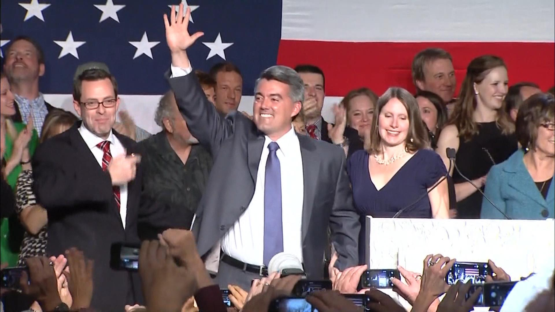 Cory Gardner delivers his acceptance speech (credit: CBS)