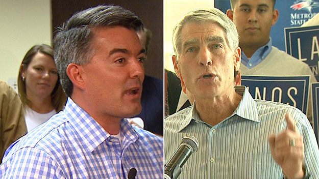 Cory Gardner and Mark Udall out stumping on Monday (credit: CBS)
