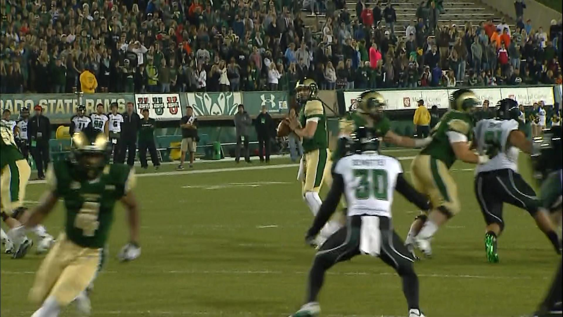 Quarterback Garrett Grayson of the CSU Rams against Hawaii on Saturday (credit: CBS)