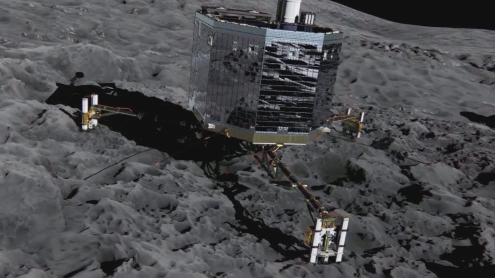 The Rosetta spaceship attached to a comet (credit: European Space Agency)