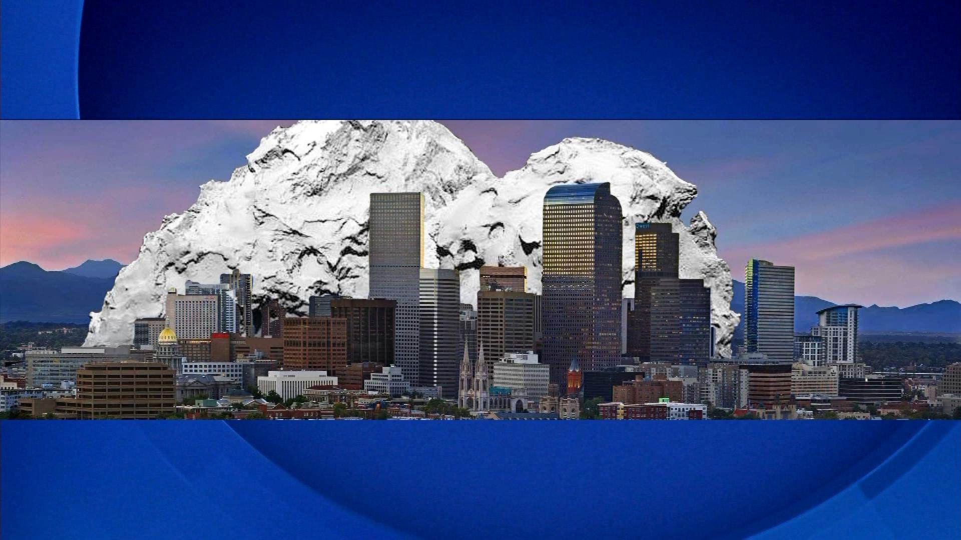 Using the Denver skyline as a reference, here's how big the comet is. (credit: CBS)