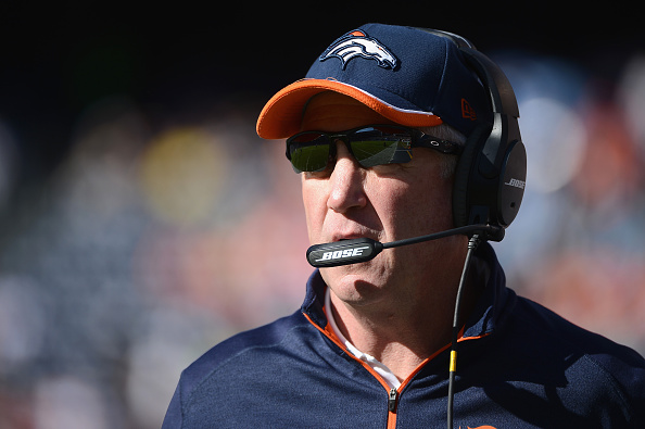Denver Broncos head coach John Fox looks on during a game against the San Diego Chargers at Qualcomm Stadium on Dec. 14, 2014 in San Diego, California.  (Photo by Donald Miralle/Getty Images)