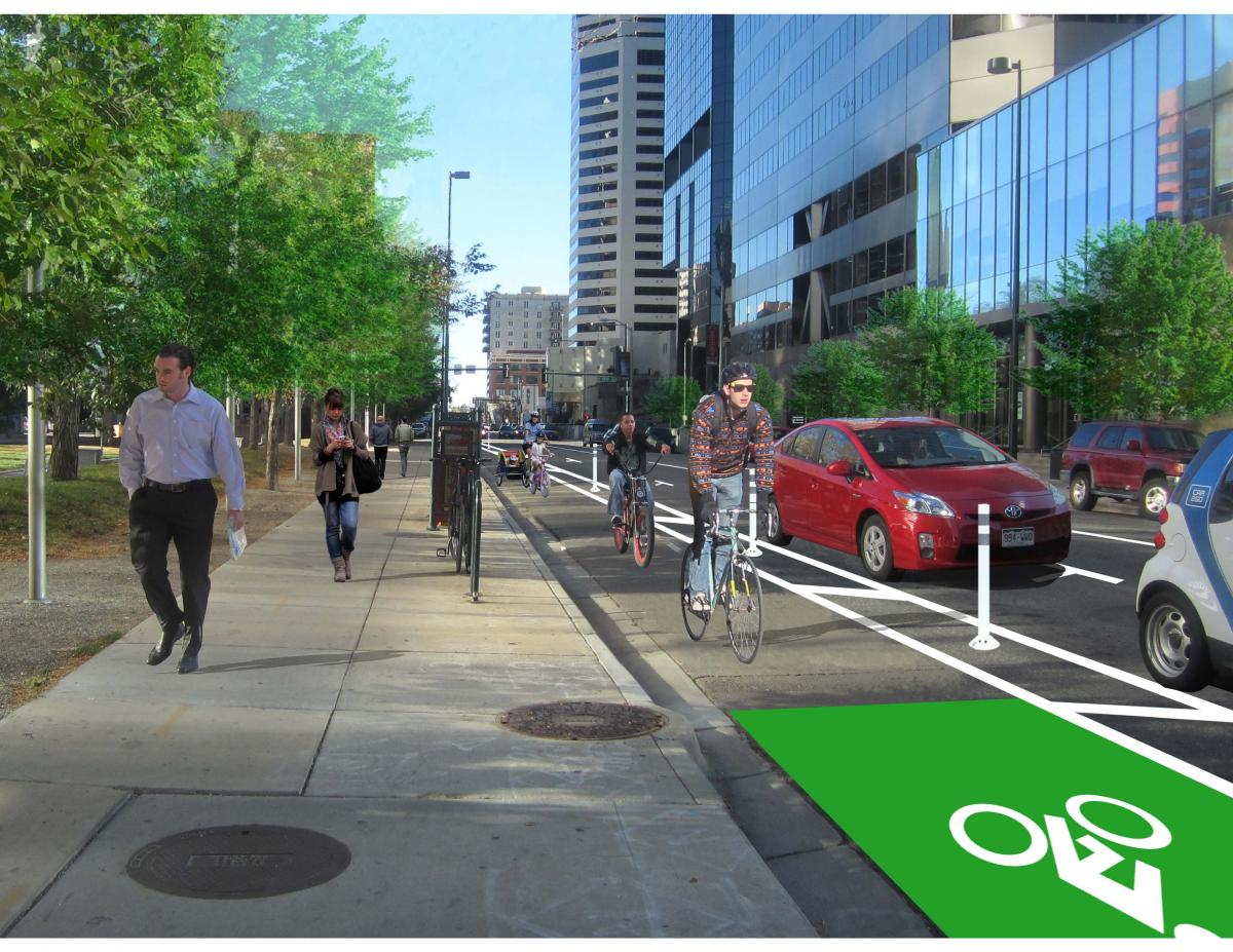 An artist's rendering of the proposed Arapahoe Street bike lane (credit: Downtown Denver Partnership)