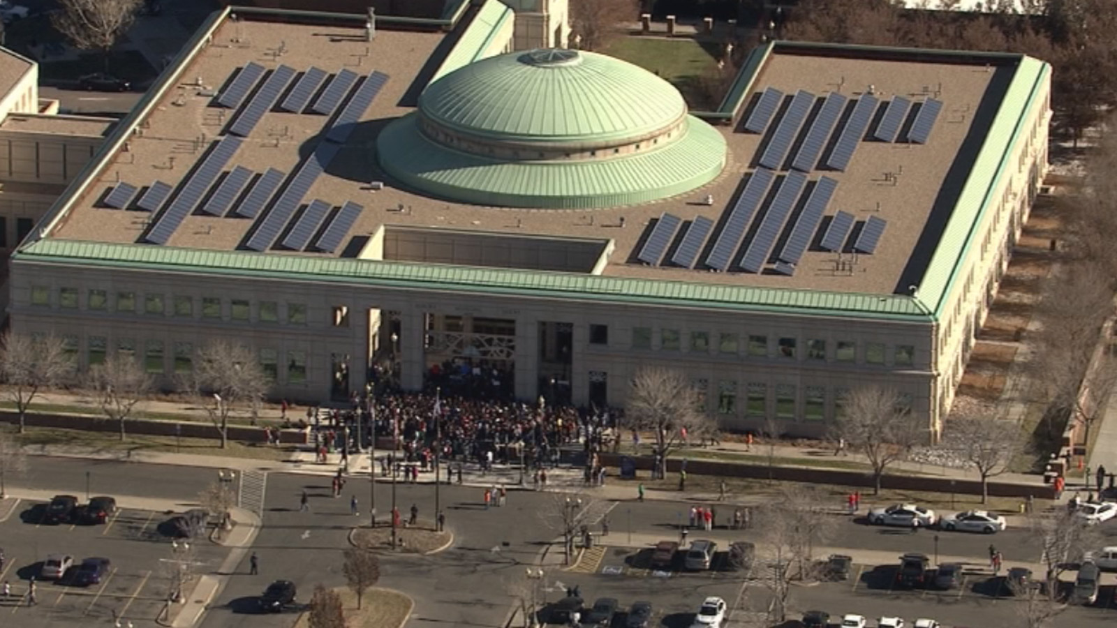 Copter4 flew over the Aurora Justice Center where protesters gathered Friday morning (credit: CBS)