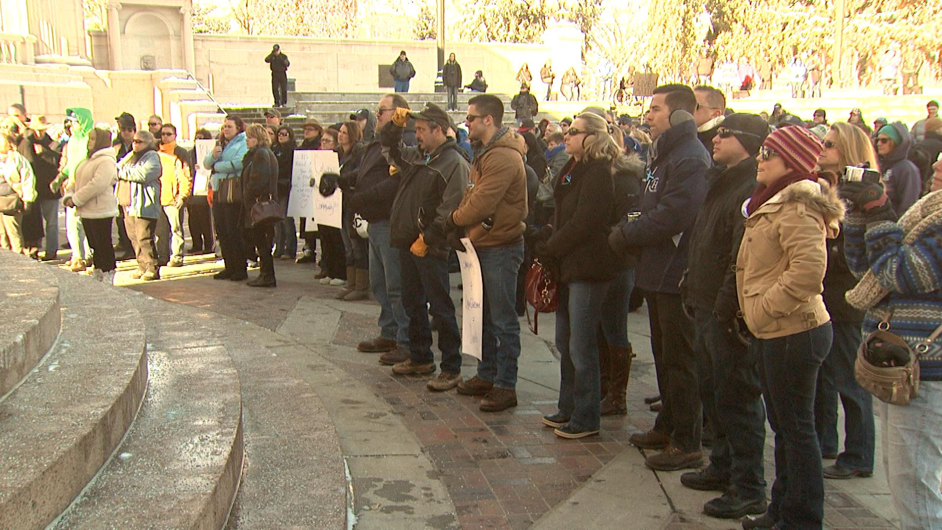 The gathering in Civic Center Park Saturday morning (credit: CBS)