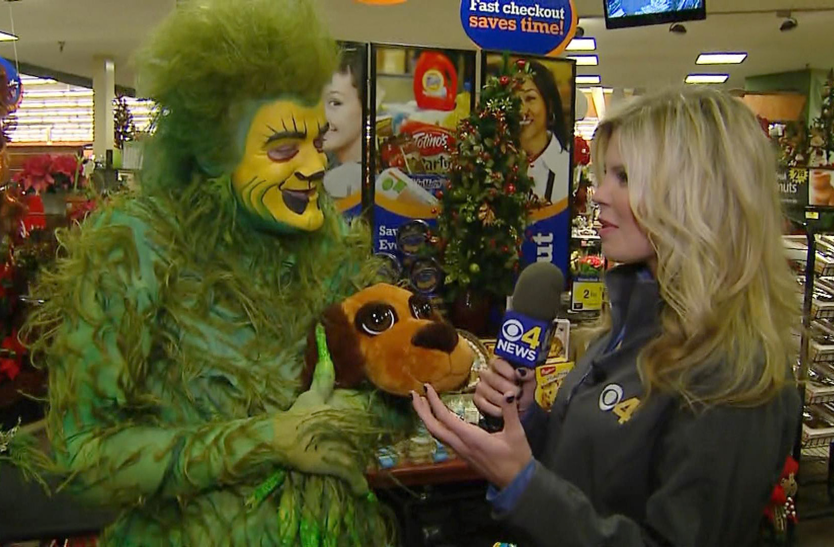 Even the Grinch is happy to donate to the Care 4 Colorado Toy Drive (credit: CBS)