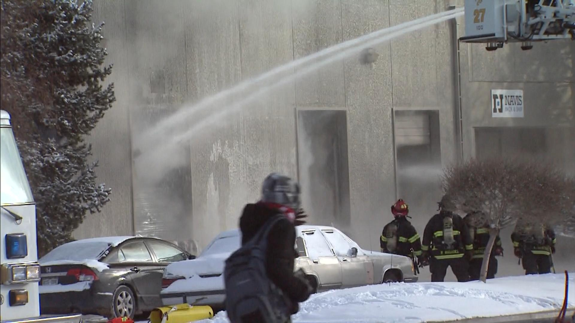 The warehouse fire on Tuesday (credit: CBS)