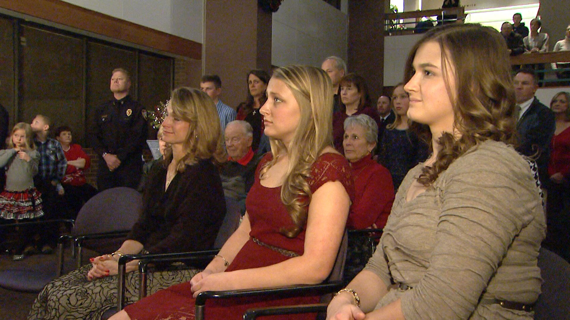A.J. DeAndrea's wife and daughters (credit: CBS)