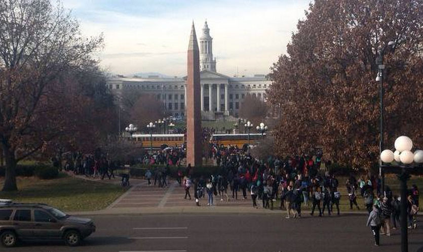 An image of students gathering at the Capitol Wednesday morning (credit: Elizabeth Hernandez/Twitter)