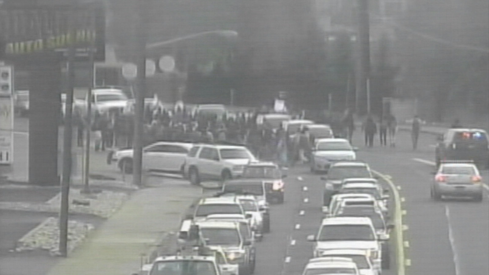 Students from George Washington High School disrupted traffic during a walkout on Thursday morning (credit: CDOT)
