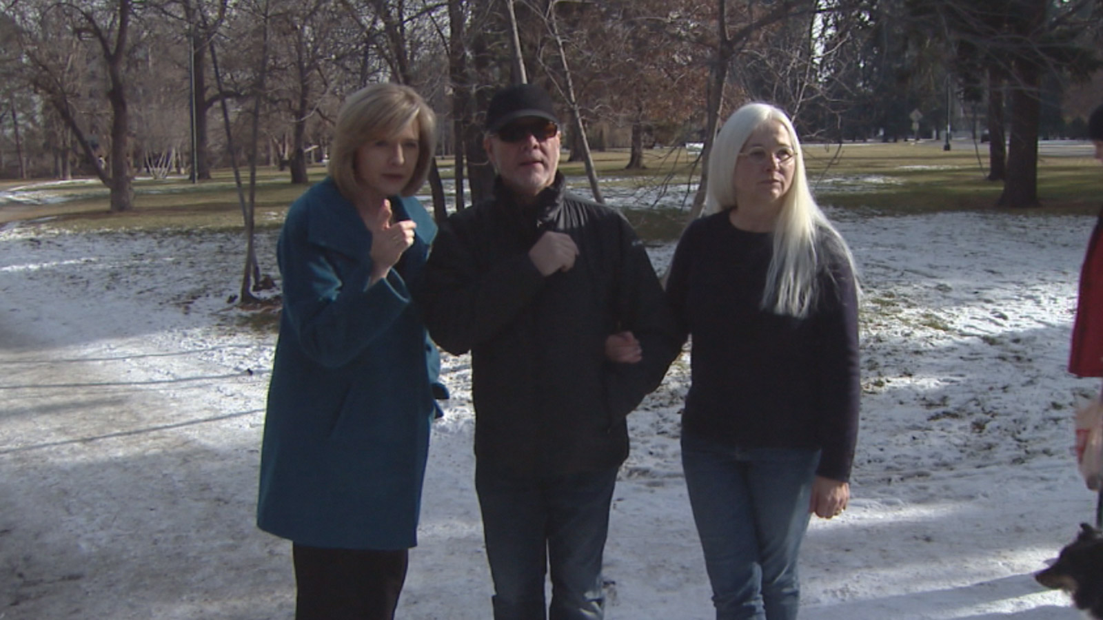 Phil and Pam Lawson show CBS4's Kathy Walsh where Phil collapsed while jogging (credit: CBS)