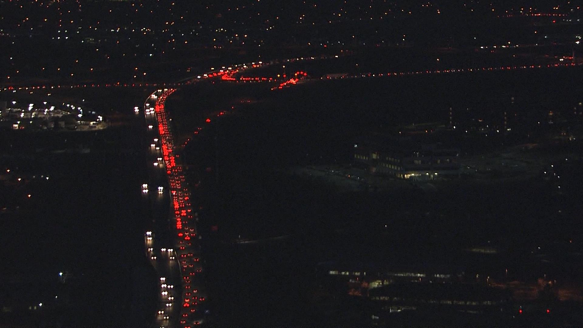 Traffic backed up on the Boulder Turnpike (credit: CBS)