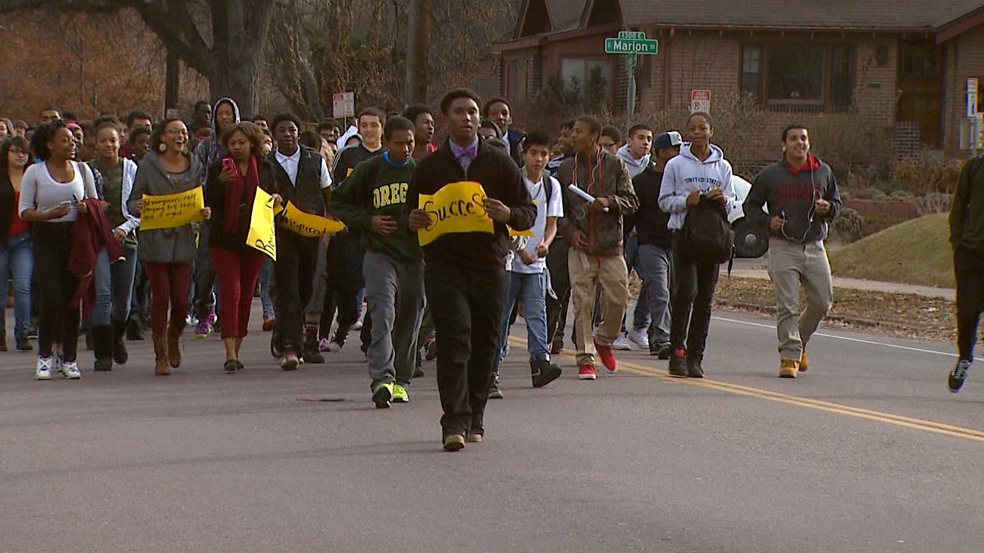 Students during the walkout Monday morning (credit: CBS)