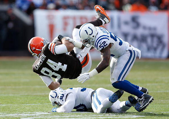 D'Qwell Jackson tackles the Brown's Jordan Cameron on December 7, 2014.  (Photo by Joe Robbins/Getty Images)