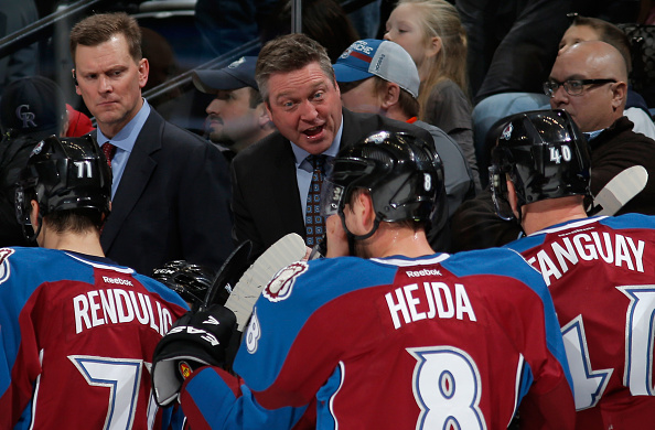 Head coach Patrick Roy of the Colorado Avalanche directs his team during a break in the action against the Dallas Stars at Pepsi Center on January 10, 2015 in Denver, Colorado.  (Photo by Doug Pensinger/Getty Images)