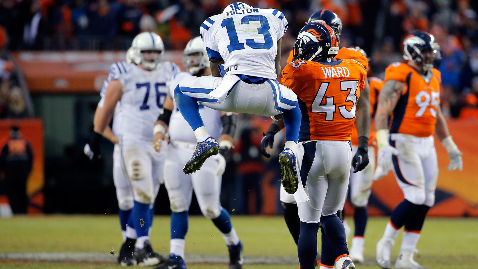 T.Y. Hilton #13 of the Indianapolis Colts reacts against the Denver Broncos during a 2015 AFC Divisional Playoff game at Sports Authority Field at Mile High on January 11, 2015 in Denver, Colorado. (Photo by Doug Pensinger/Getty Images)