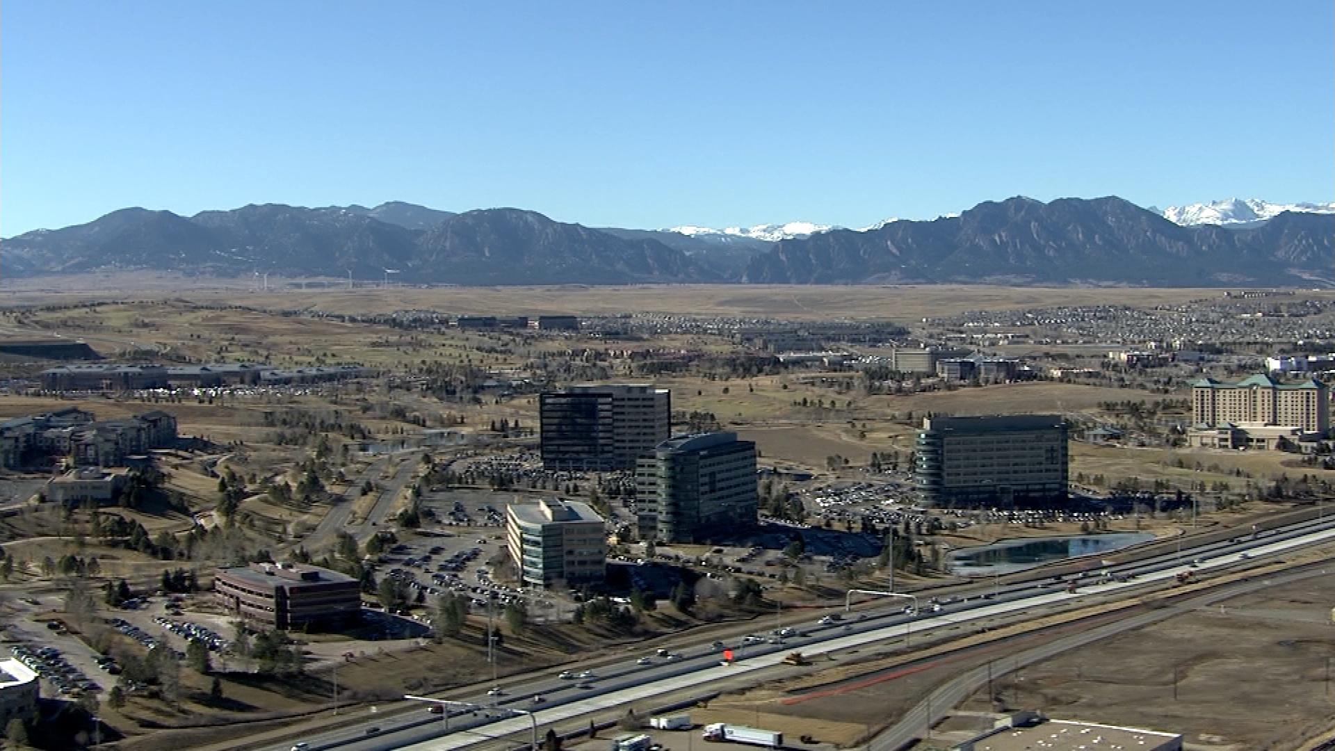 Copter4 flew over Broomfield on Monday afternoon. (credit: CBS)