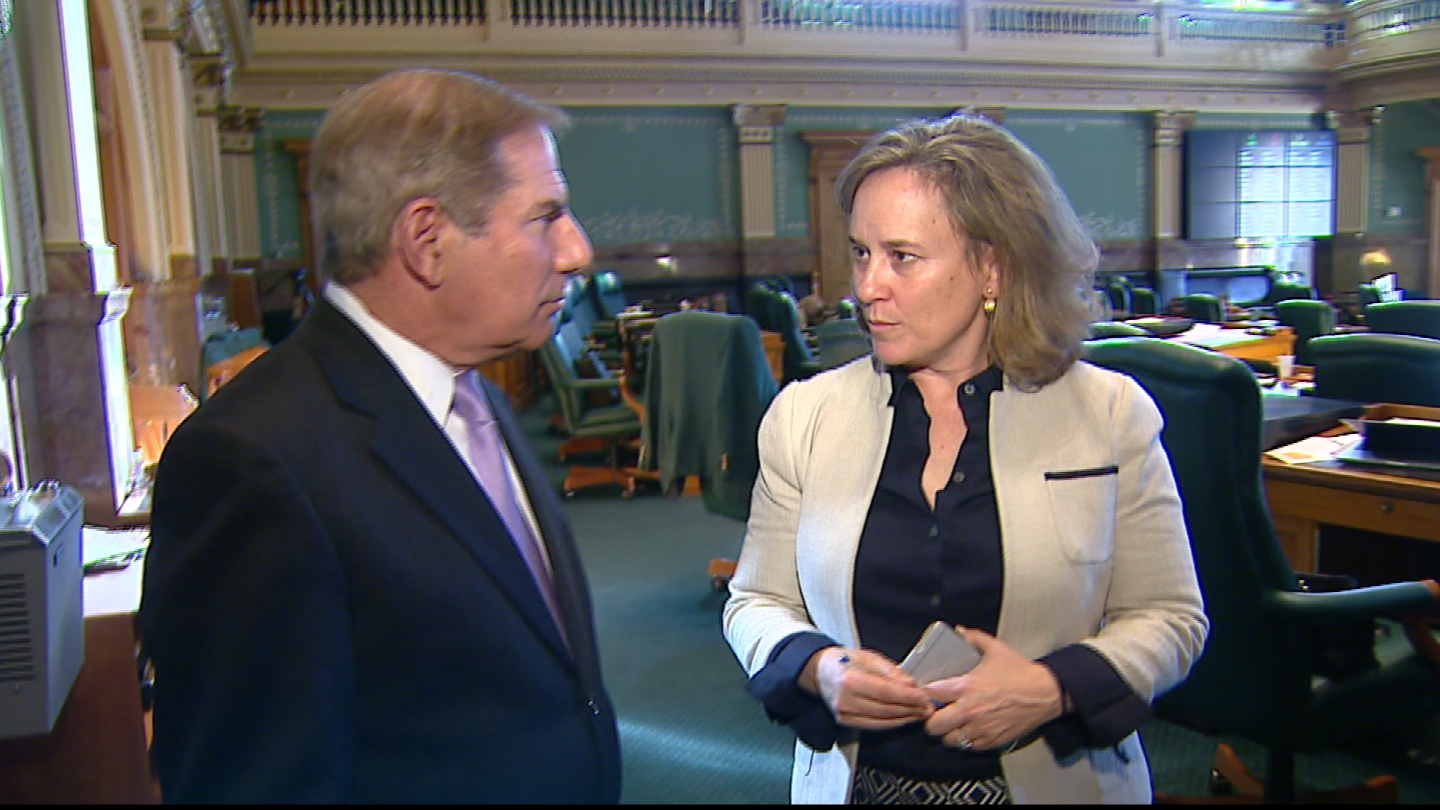 CBS4's Rick Sallinger talks with state Rep. KC Becker (credit: CBS)