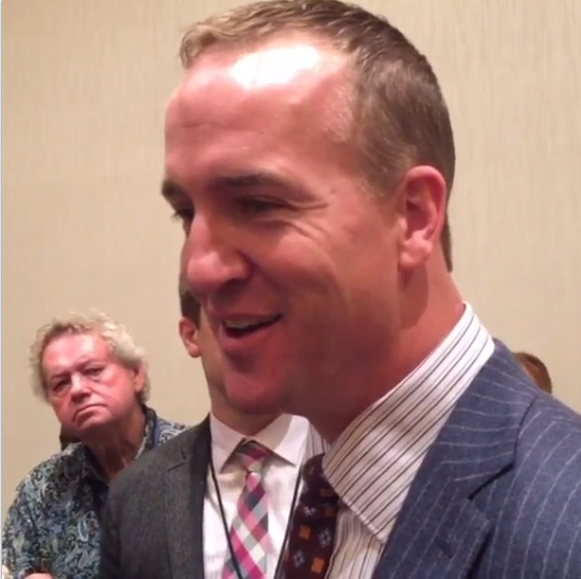 Peyton Manning talks to reporters Friday morning. (credit: CBS)