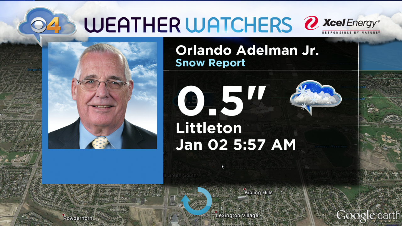 A CBS4 Weather Watcher in Littleton measured a half inch of snow on New Year's night. (credit: CBS)