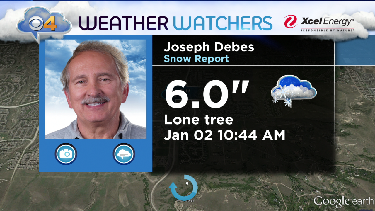 A CBS4 Weather Watcher in Lone Tree measured 6 inches of snow on New Year's night. (credit: CBS)