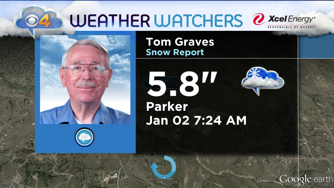 A CBS4 Weather Watcher in Parker measured 5.8 inches of snow on New Year's night. (credit: CBS)