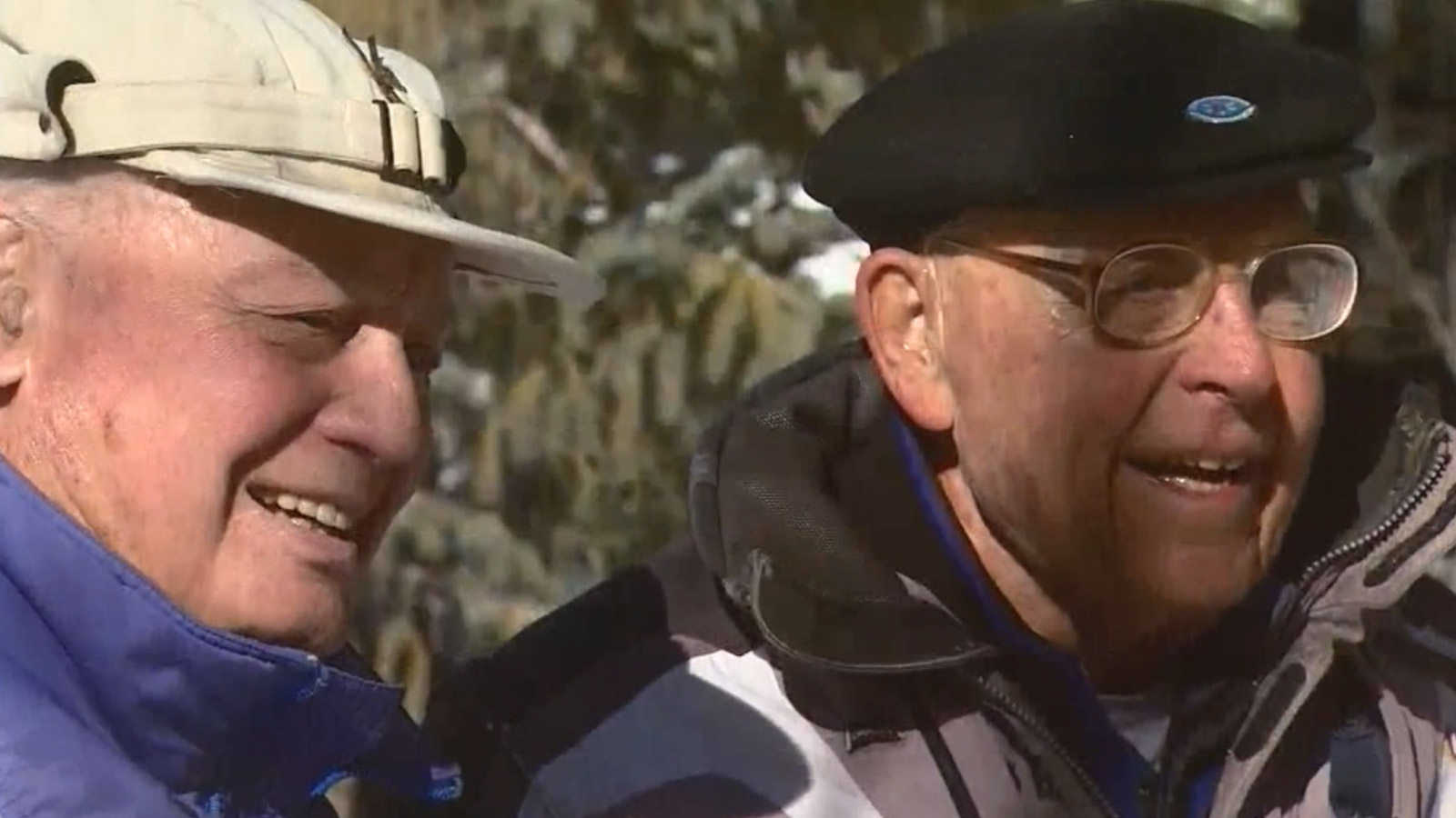 Members of the 10th Mountain Division reunited on the slopes (credit: CBS)
