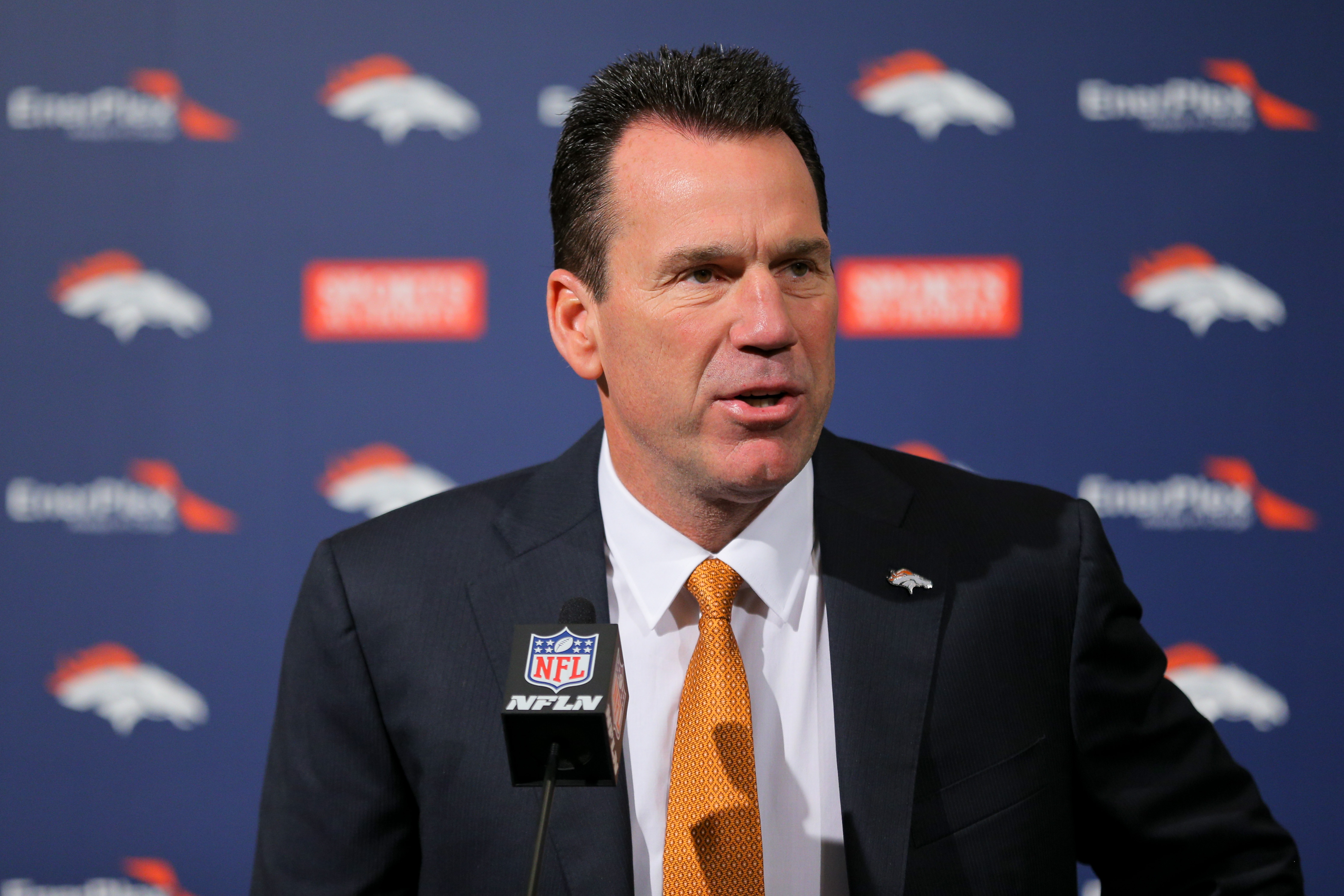 Head Coach Gary Kubiak of the Denver Broncos addresses the media during his introduction press conference at Dove Valley on January 20, 2015 in Englewood, Colorado. (Photo by Justin Edmonds/Getty Images)