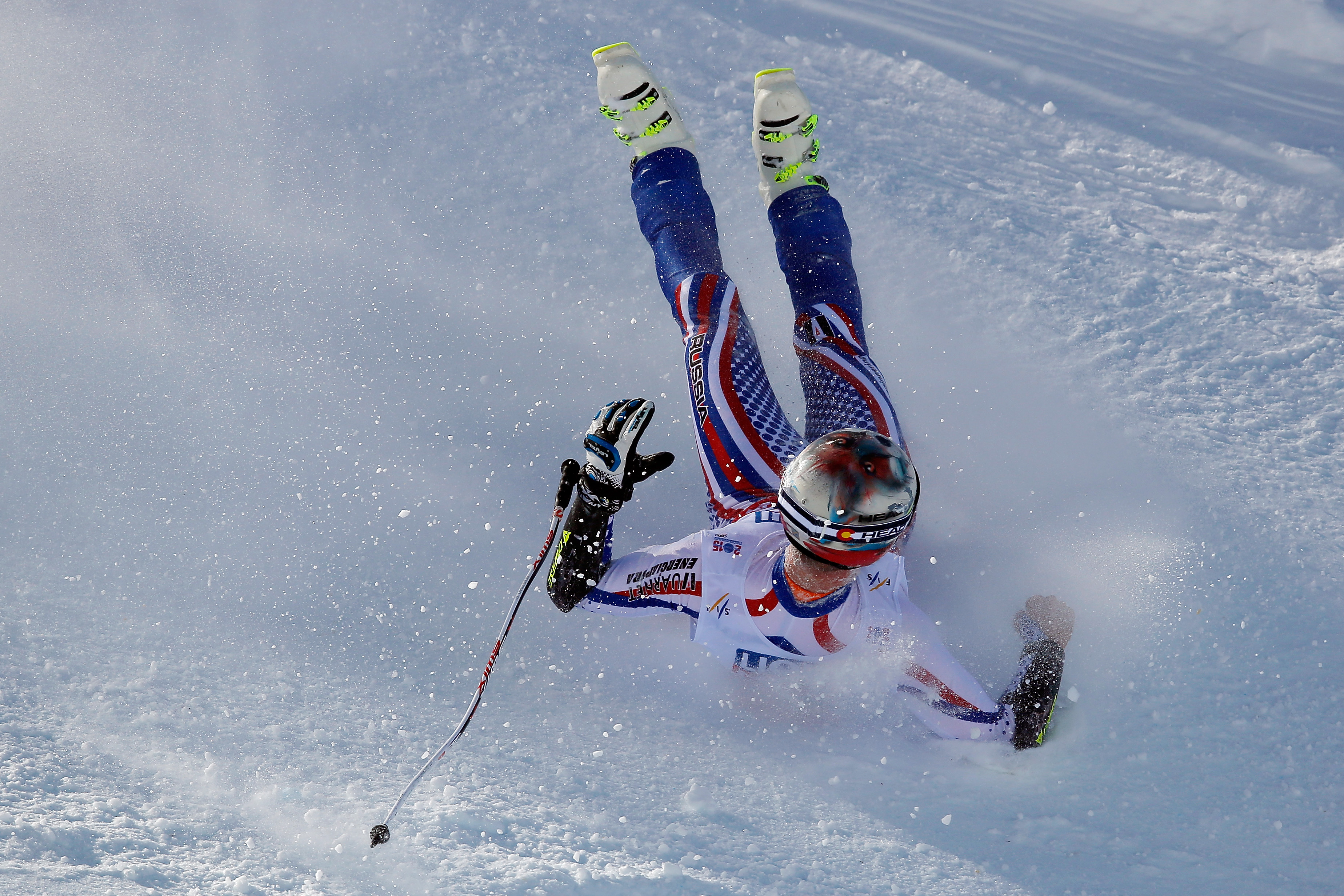 Alexander Glebov of Russia crashes during the Men's Super-G on the Birds of Prey racecourse on Day 4 of the 2015 FIS Alpine World Ski Championships on February 5, 2015 in Beaver Creek, Colorado.  (Photo by Doug Pensinger/Getty Images)