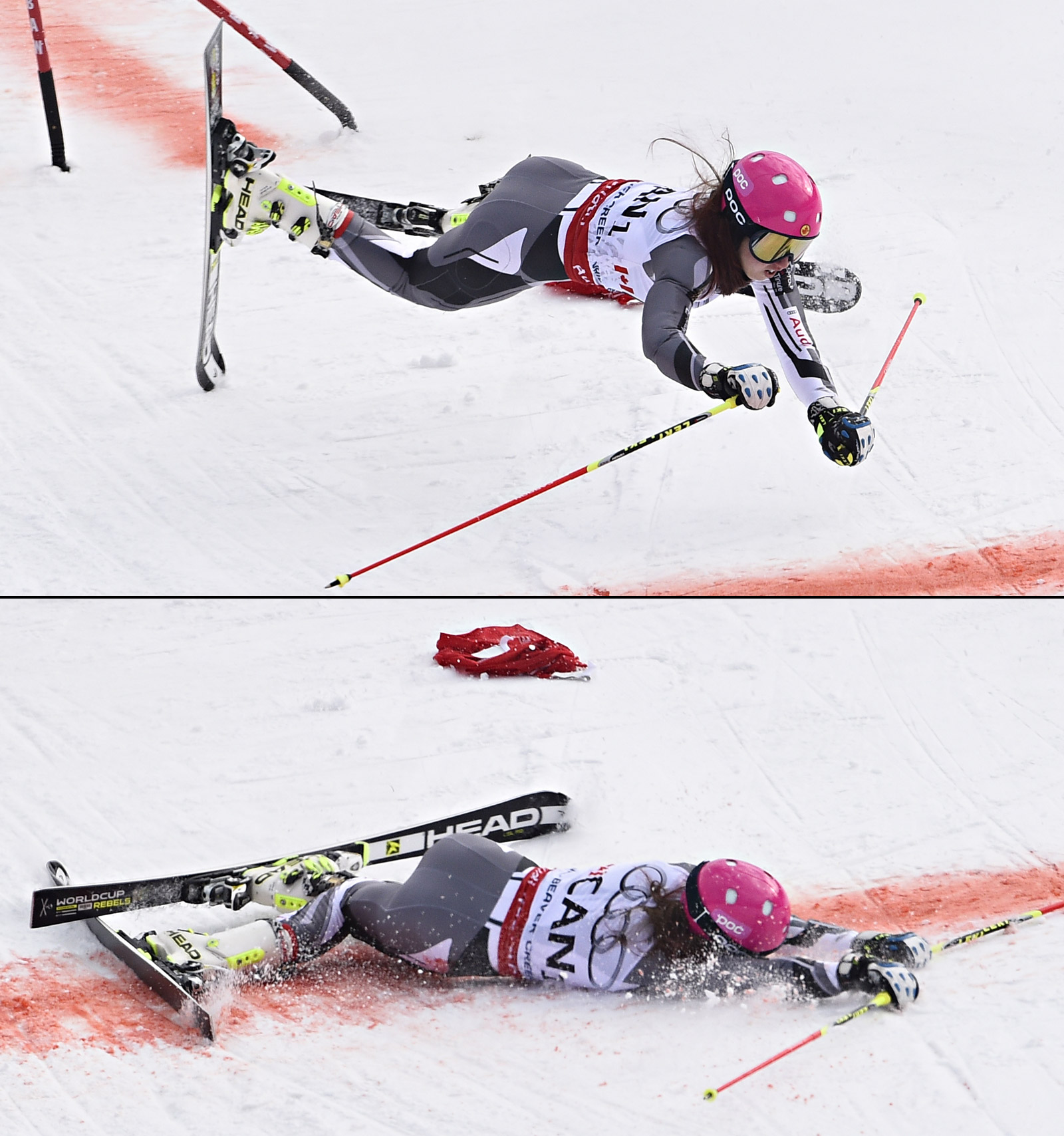 Candace Crawford of Team Canada crashes over the arrival line, yet wins a silver medal during the FIS Alpine World Ski Championships Nations Team Event on February 10, 2015 in Beaver Creek, Colorado. (Photo by Alain Grosclaude/Agence Zoom/Getty Images)