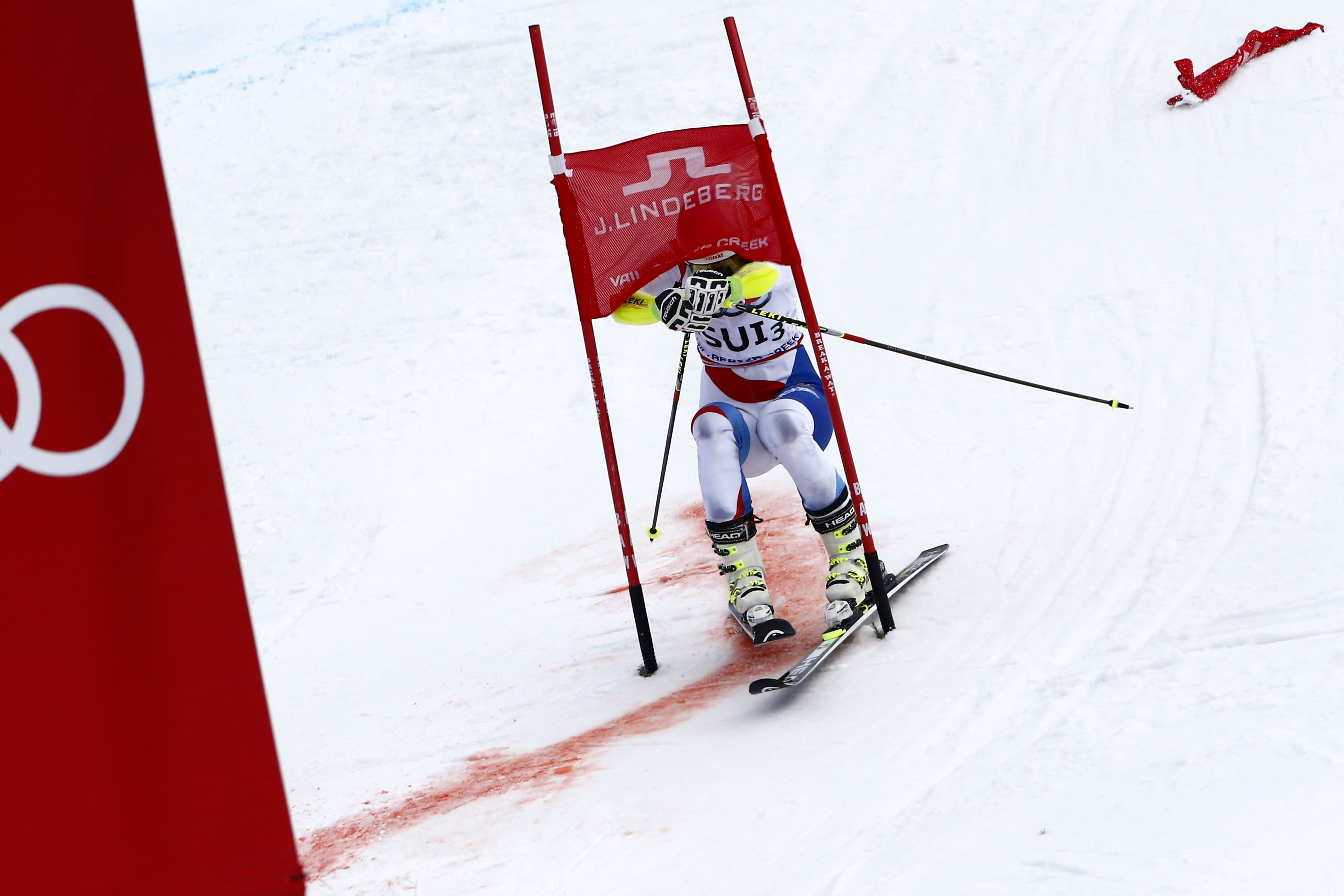 Wendy Holdener of Switzerland skis through a gate during the FIS Alpine World Ski Championships Nations Team Event on February 10, 2015 in Beaver Creek, Colorado. (Photo by Christophe Pallot/Agence Zoom/Getty Images)