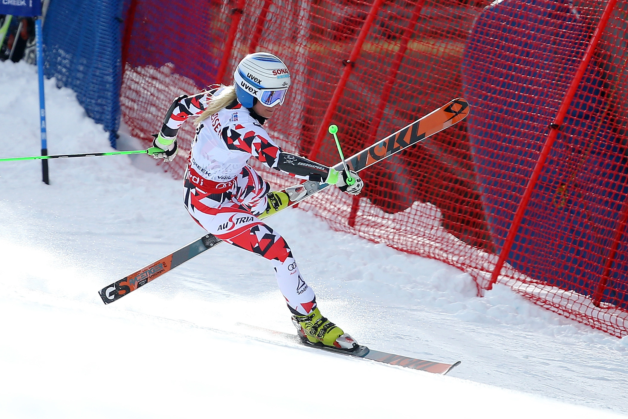 Eva-Maria Brem of Austria loses balance during the Ladies' Giant Slalom on the Raptor racecourse on Day 11 of the 2015 FIS Alpine World Ski Championships on February 12, 2015 in Beaver Creek, Colorado. (Photo by Al Bello/Getty Images)