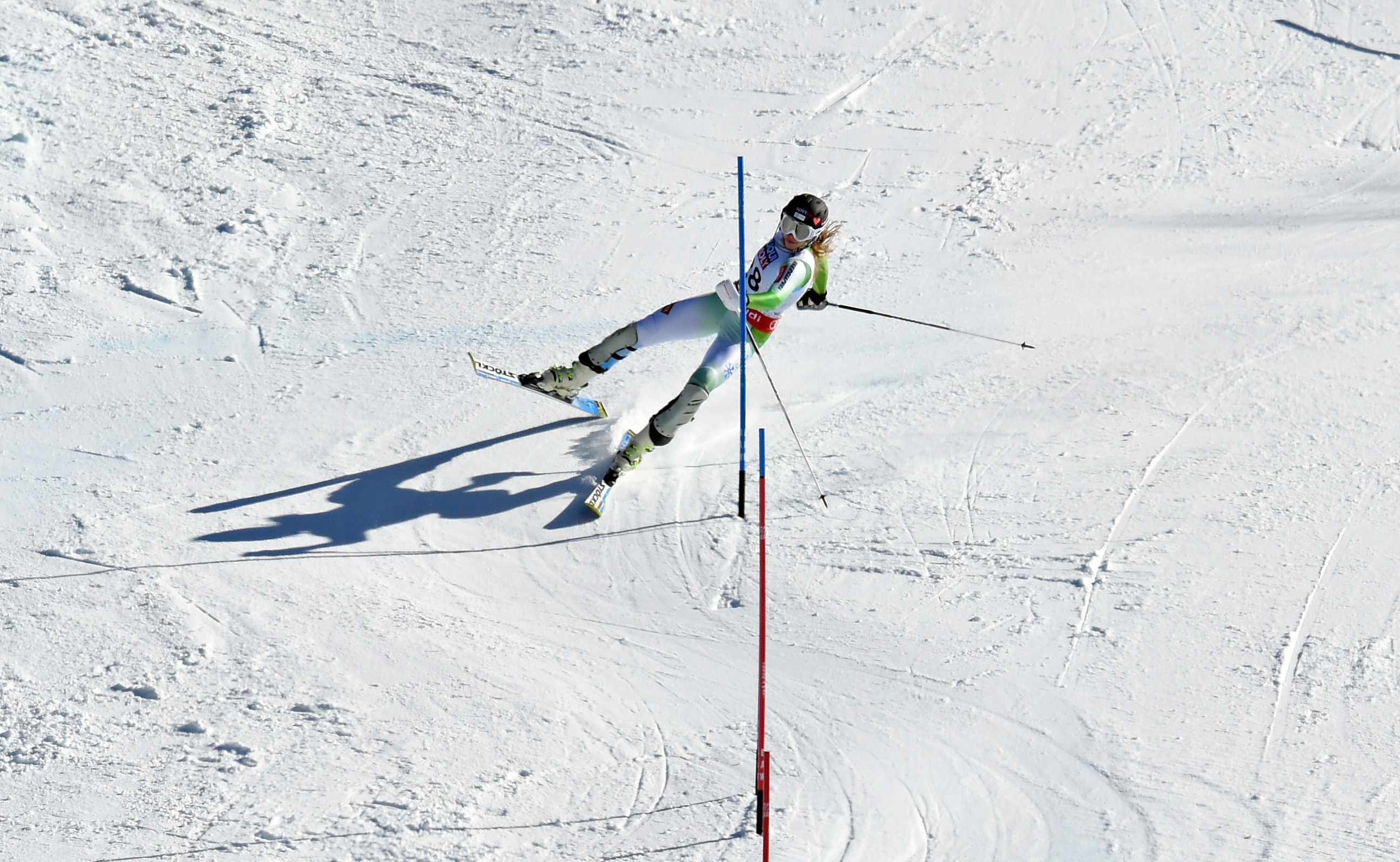Ana Bucik of Slovenia misses a gate in her second run during the 2015 World Alpine Ski Championships women's slalom on February 14, 2015 in Beaver Creek, Colorado. (credit: DON EMMERT/AFP/Getty Images)