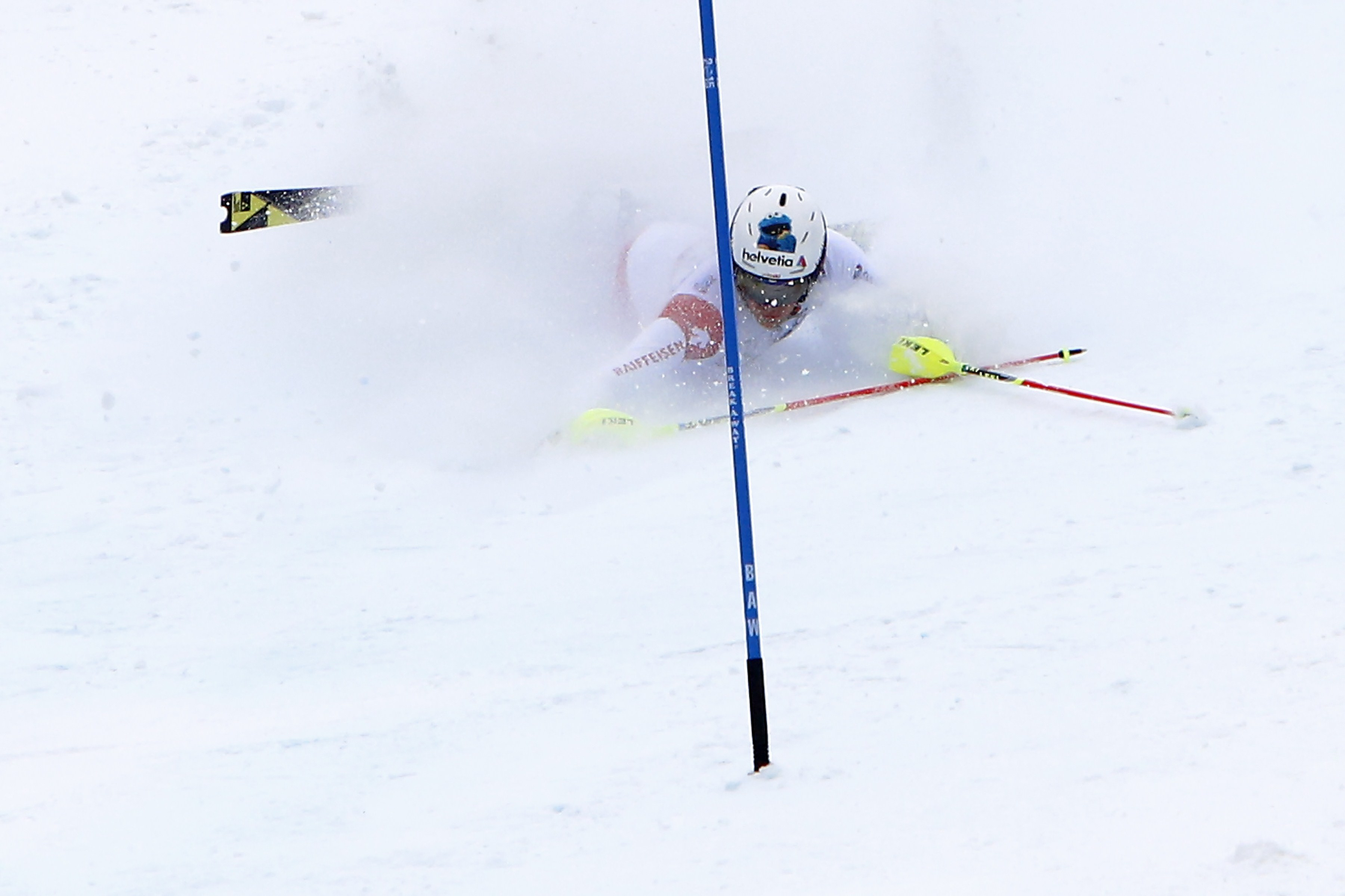 Daniel Yule of Switzerland falls on the course during the 2015 World Alpine Ski Championships men's slalom February 15, 2015 in Beaver Creek, Colorado.  (credit: NATHAN BILOW/AFP/Getty Images)