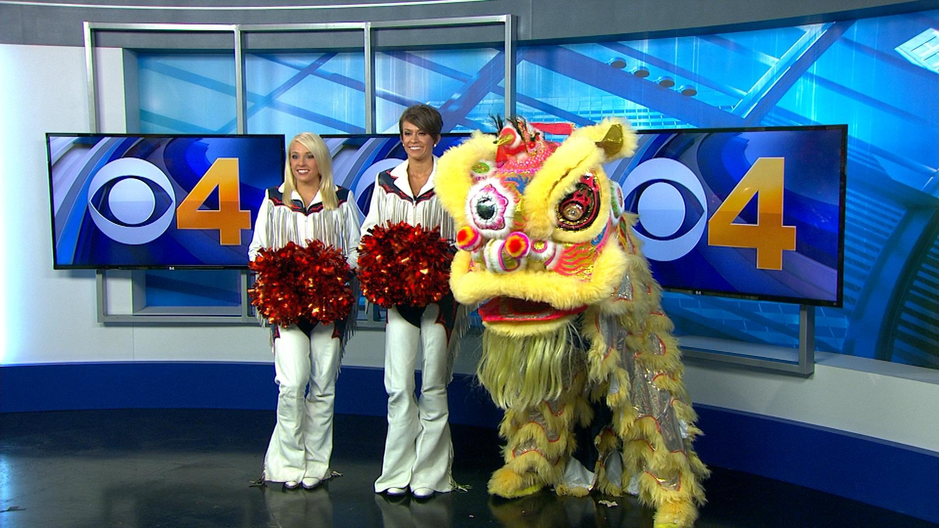Faymie and Sam of the Broncos Cheerleaders on CBS4 News at Noon (credit: CBS)