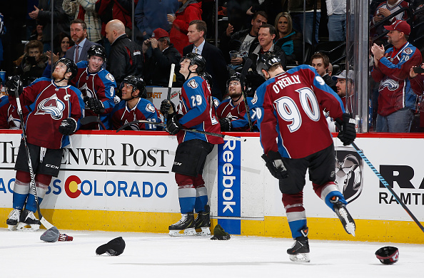 Nathan MacKinnon #29 of the Colorado Avalanche celebrates his third goal of the game against the Tampa Bay Lightning at Pepsi Center on February 22, 2015 in Denver, Colorado. MacKinnon scored a hat trick as the Avalanche defeated the Lightning 5-4. (Photo by Doug Pensinger/Getty Images)