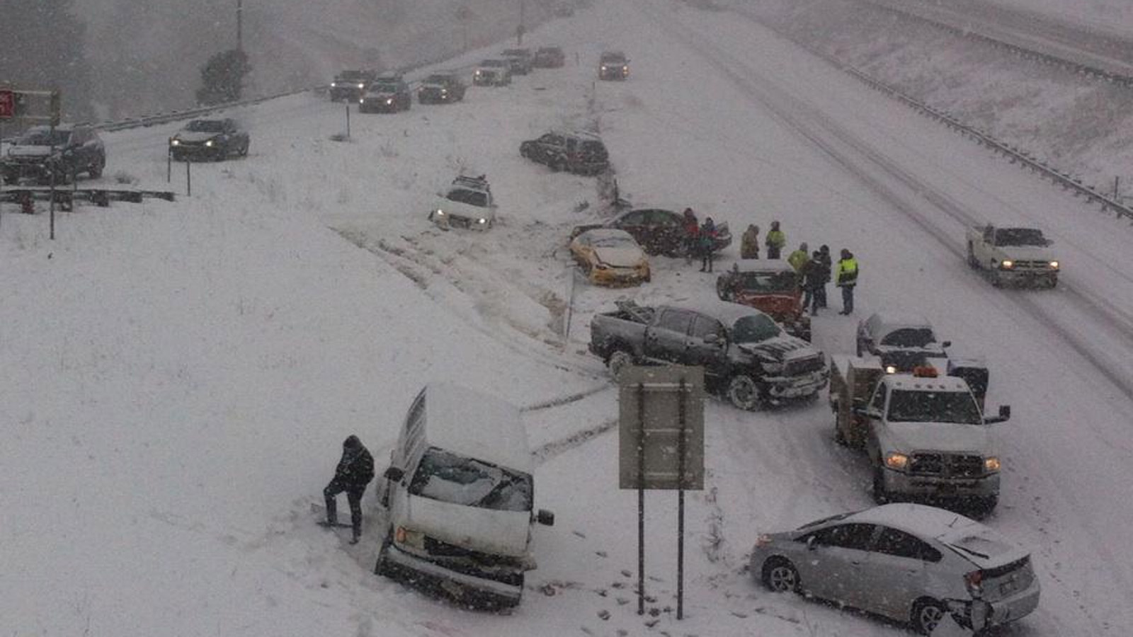 Multiple vehicles involved in a crash on eastbound lanes of I-70 just west of Denver (credit: CBS)