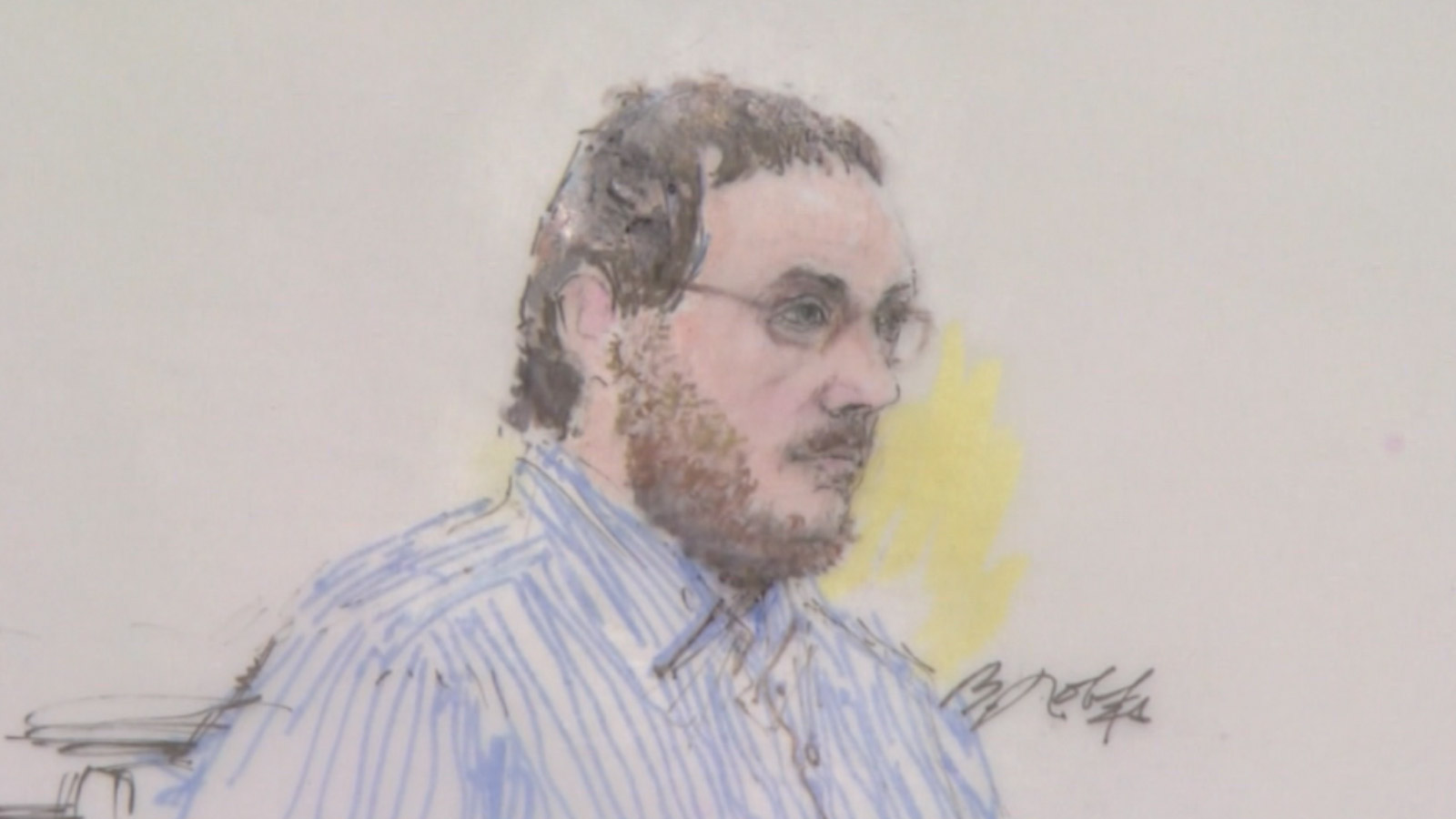 James Holmes in court on Feb. 11, 2015 (Sketch by Bill Robles)