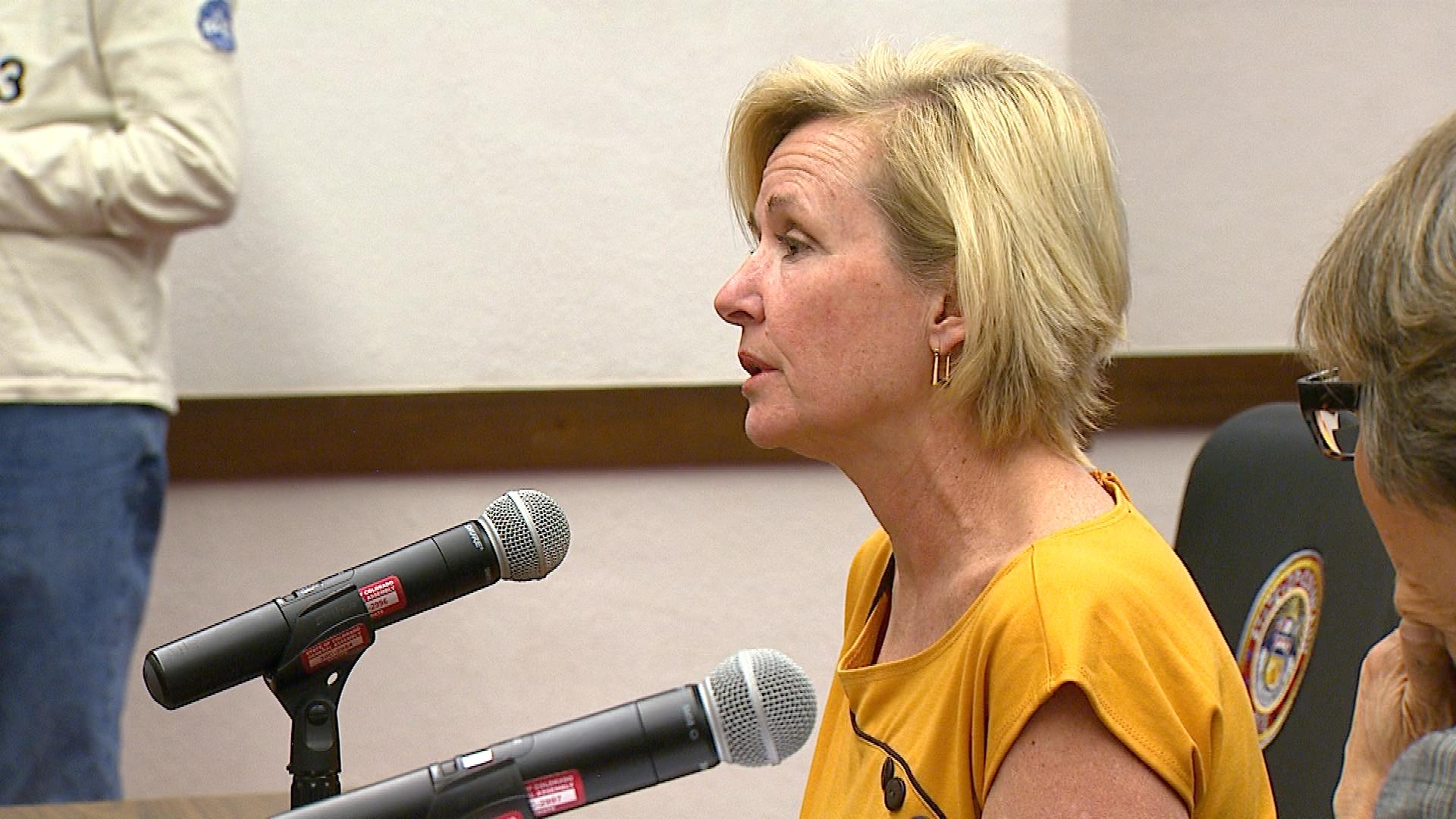 Jennifer Thompson at the Colorado Capitol on Monday (credit: CBS)