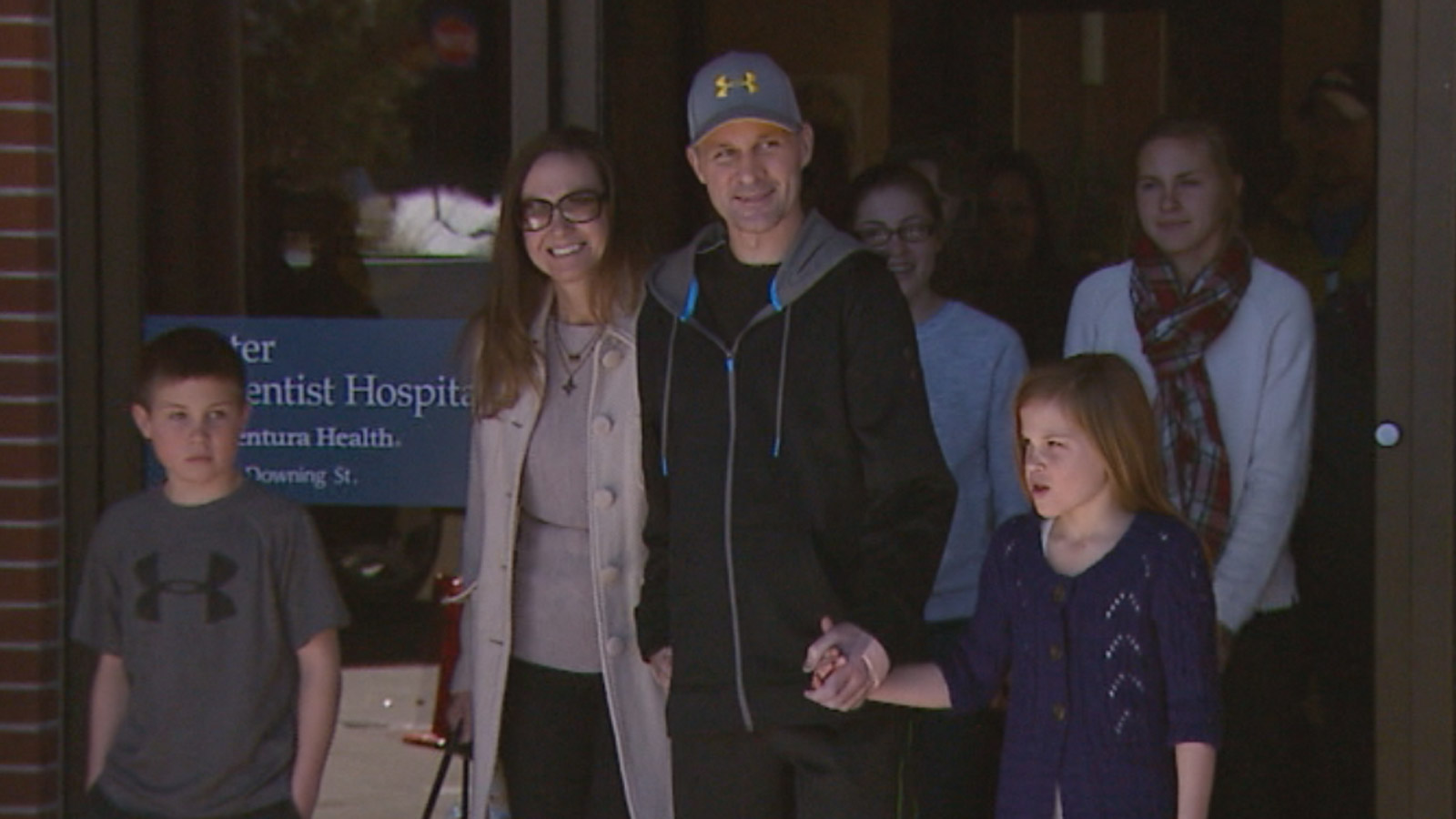 John Adsit leaves the hospital (credit: CBS)