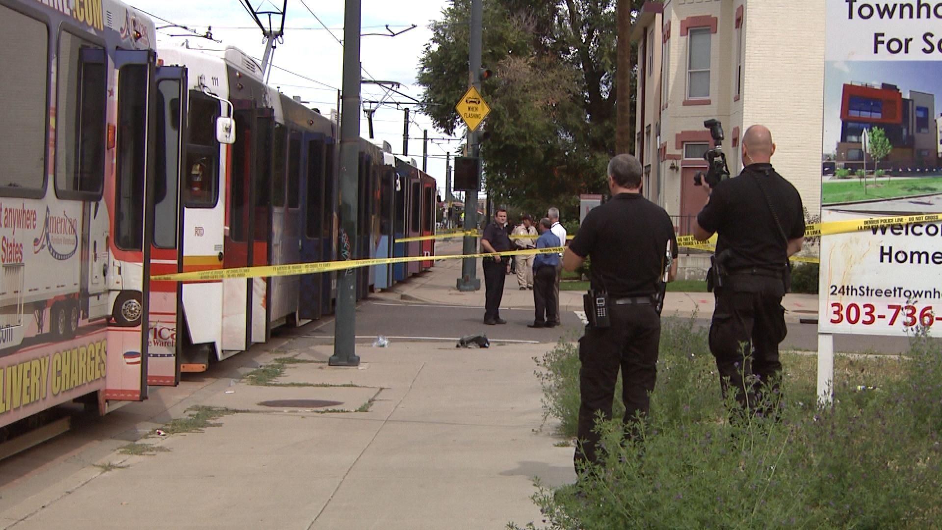 The scene of a light rail accident on 24th and Welton street (credit: CBS)