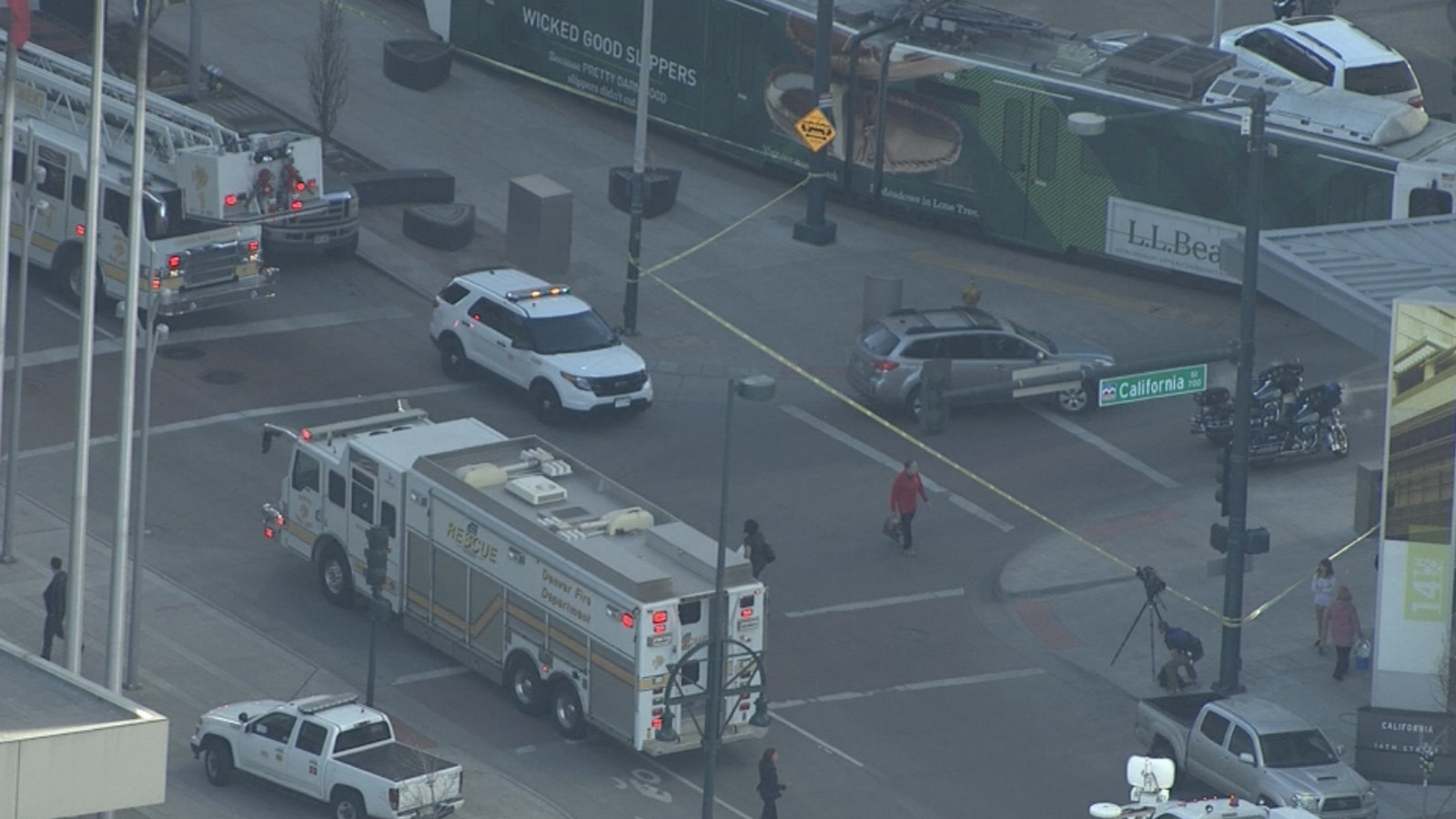 Copter4 flew over as police in Denver investigated a deadly accident between a pedestrian and light rail on Thursday (credit: CBS)